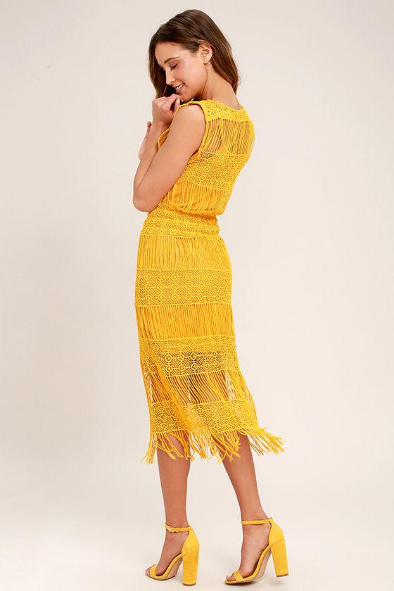 Fun Mustard Yellow Dress - Crocheted Lace Dress - Midi Dress - $83.00