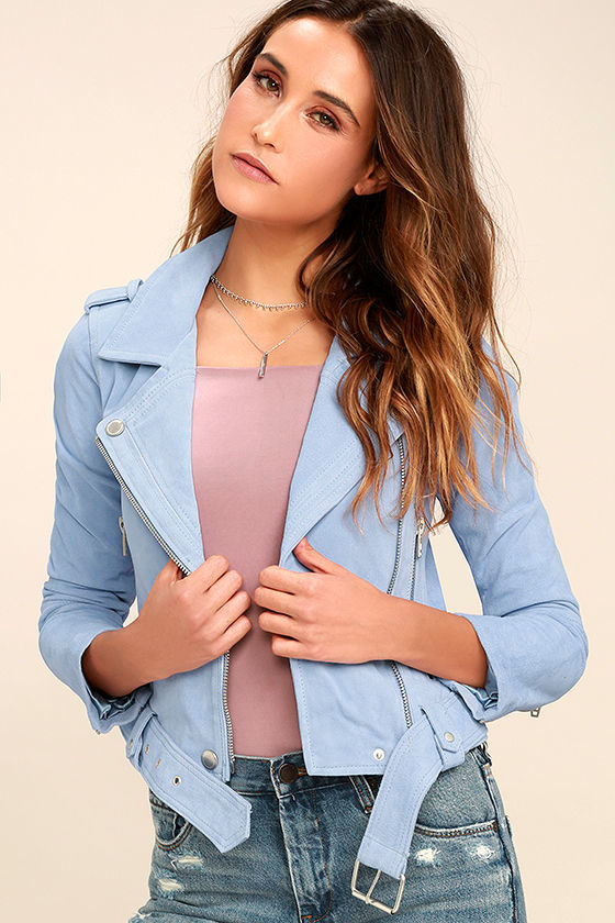 Blank NYC Backhanded Periwinkle Blue Suede Leather Moto Jacket 1