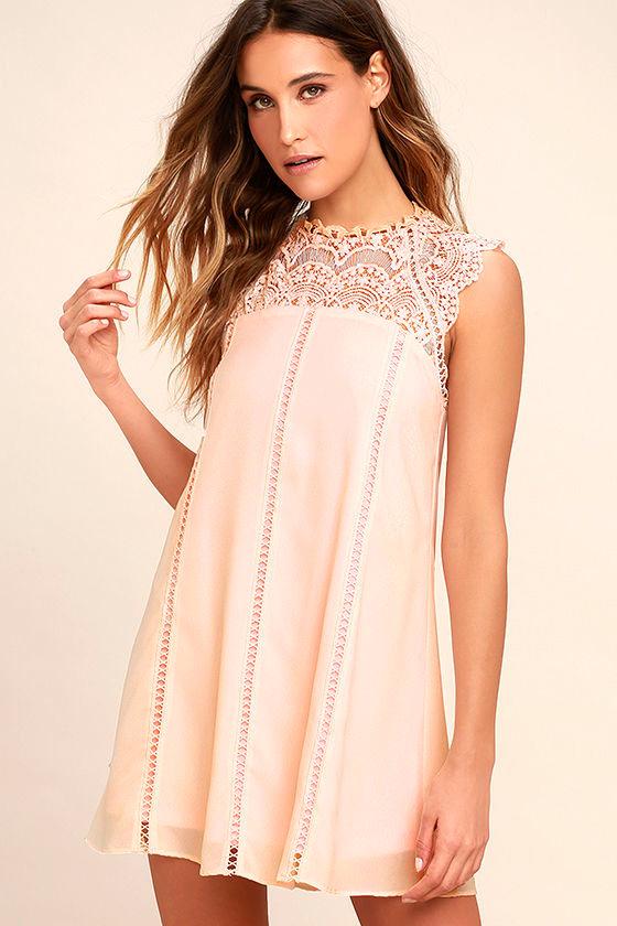 Cute Lace Dress - Blush Pink Dress - Shift Dress - $82.00