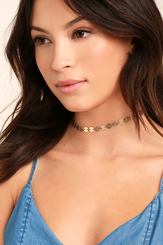 Never Let You Go Gold Choker Necklace 1