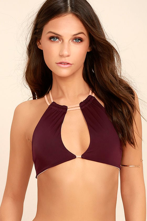 KOA Swim Wanderlust Plum Purple Reversible Bikini Top 1