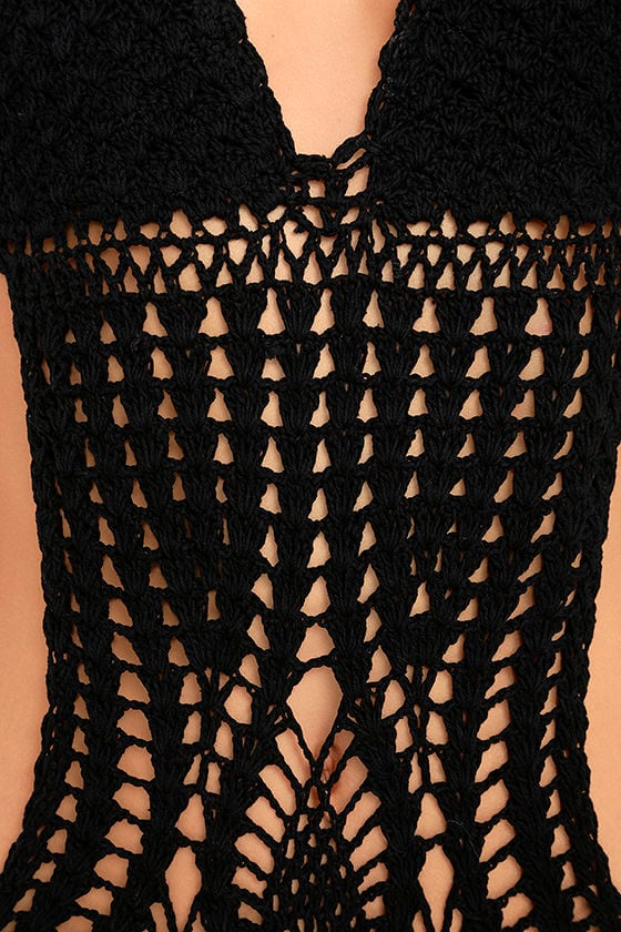 My Story Black Crochet One Piece Swimsuit 6