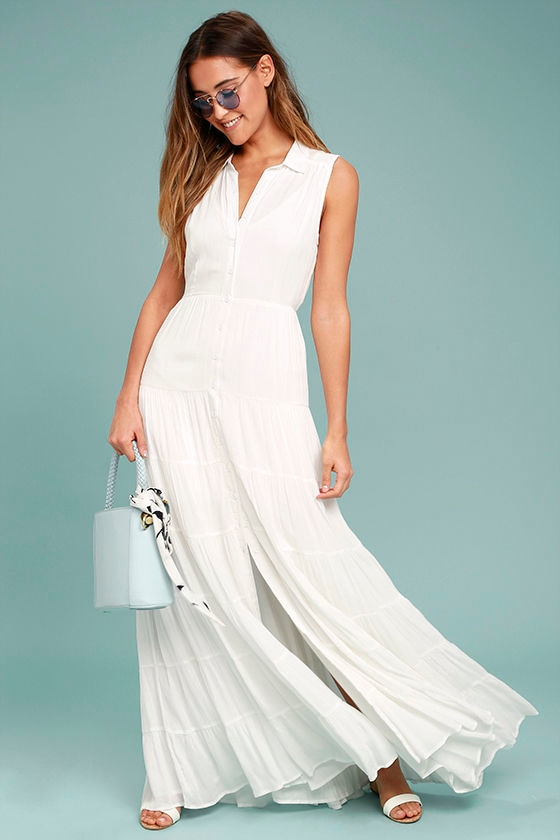 be69d651bfdd Cute White Dress - Maxi Dress - Collared Dress - Button-Up Dress ...