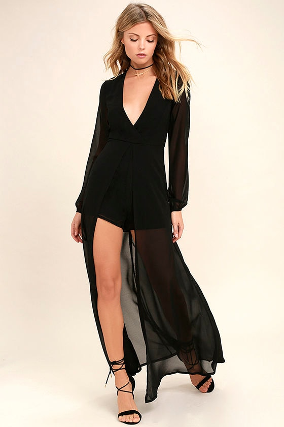 Gone With the Whirlwind Black Romper 1