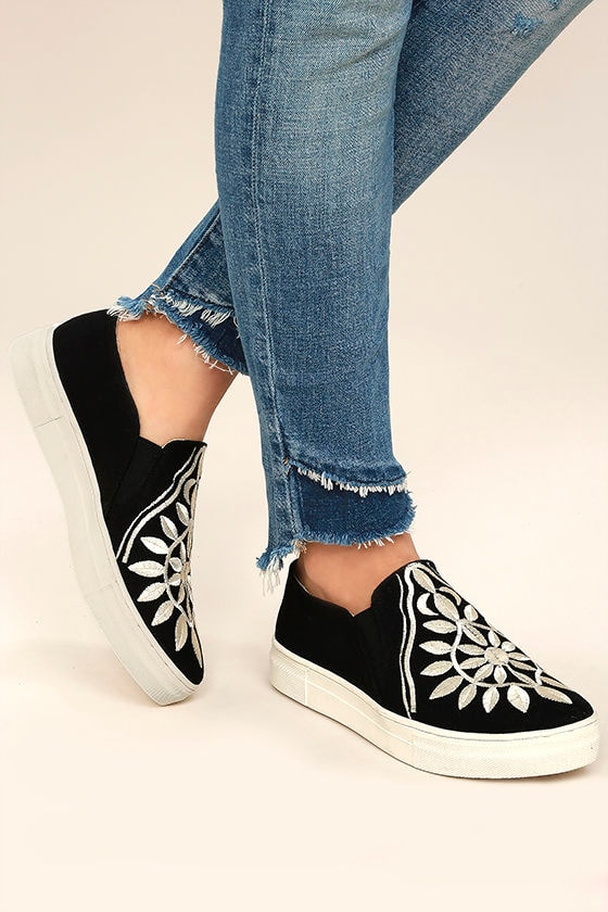 Seychelles Sunshine Black Canvas Embroidered Slip-On Sneakers 2