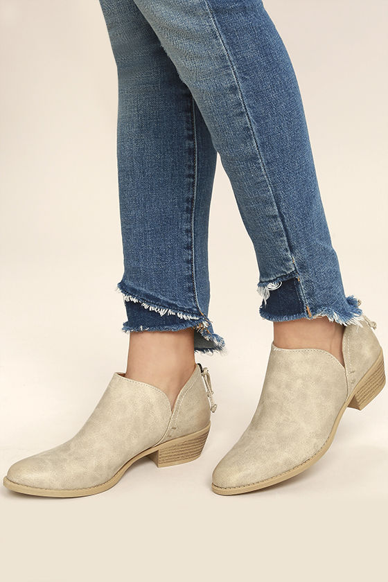 Stands Apart Stone Grey Nubuck Ankle Booties 2