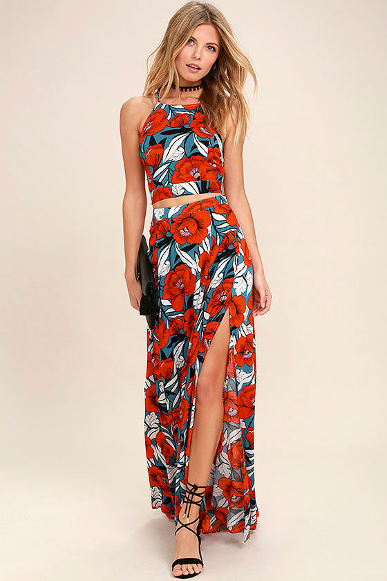 Red printed maxi dresses