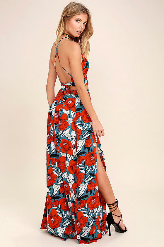 Lovely Red Dress - Floral Print Dress - Maxi Dress - Two-Piece ...