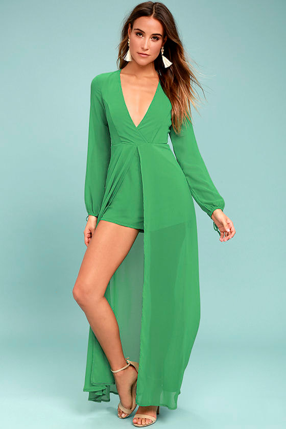 Gone With the Whirlwind Green Romper 1