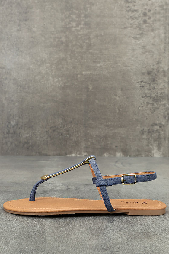 788fc47feb67 Cute Denim Sandals - Gold and Blue Sandals - Thong Sandals -  17.00