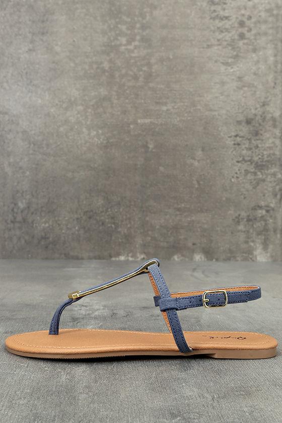 Cameron Blue Denim Flat Sandals 1