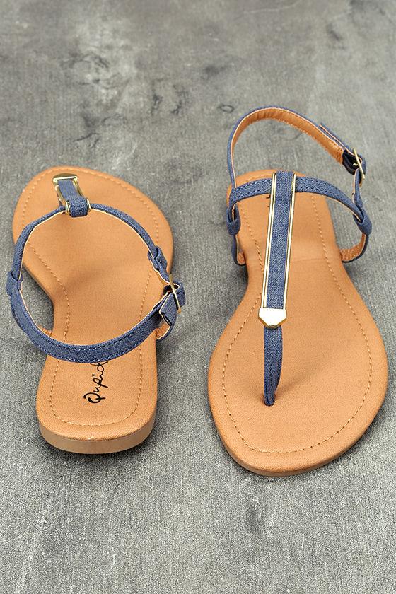 Cameron Blue Denim Flat Sandals 3
