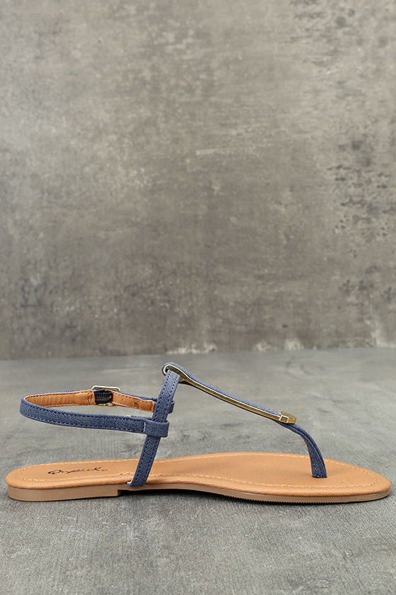 Cameron Blue Denim Flat Sandals 4