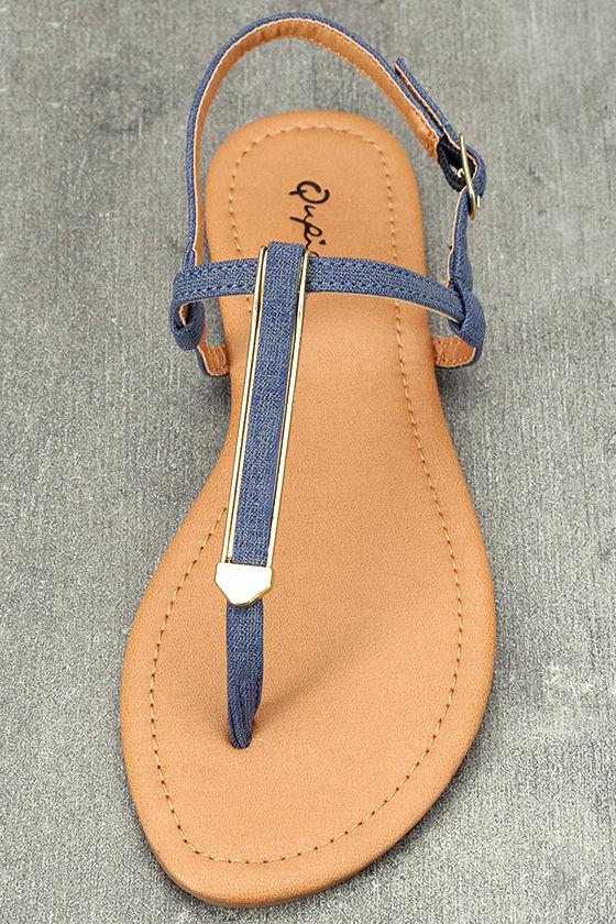 Cameron Blue Denim Flat Sandals 5