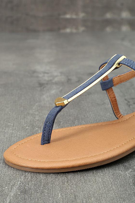 Cameron Blue Denim Flat Sandals 6