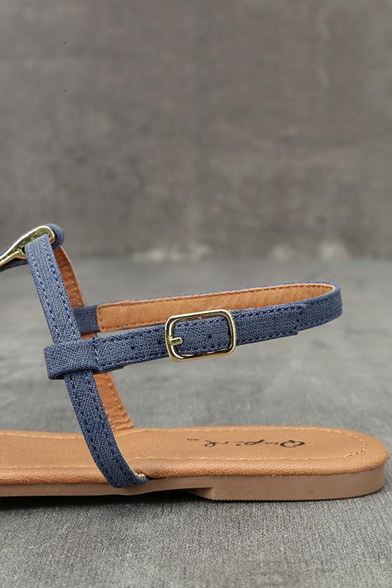 Cameron Blue Denim Flat Sandals 7