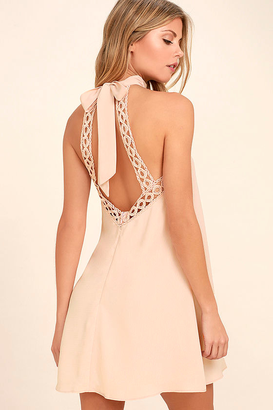 Cute Blush Pink Dress - Lace Dress - Halter Dress - $45.00