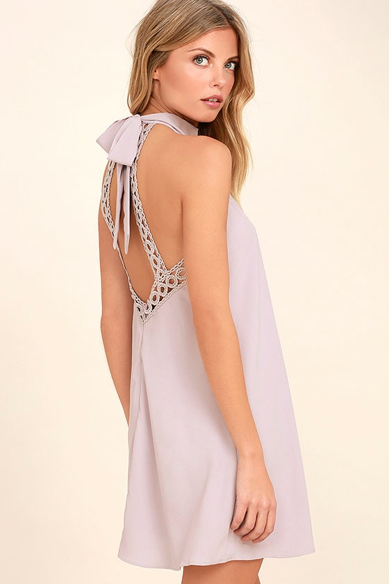 Any Sway, Shape, Or Form Lavender Lace Halter Dress 1