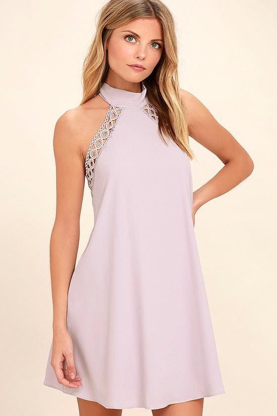 Cute Lavender Dress - Lace Dress - Halter Dress - $45.00