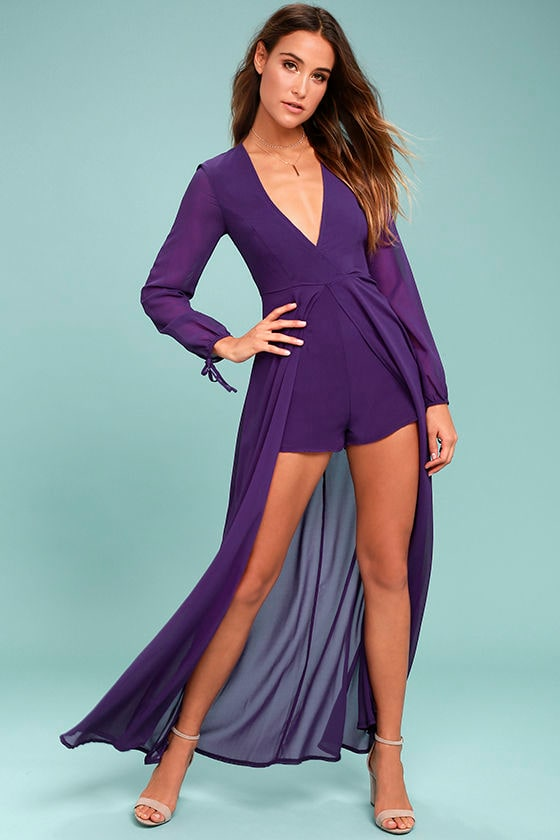 Gone With the Whirlwind Purple Romper 1
