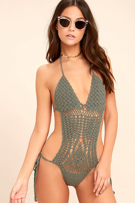 89ade87f9d Sexy Dusty Sage Swimsuit - Crochet Swimsuit - One Piece Swimsuit - $84.00