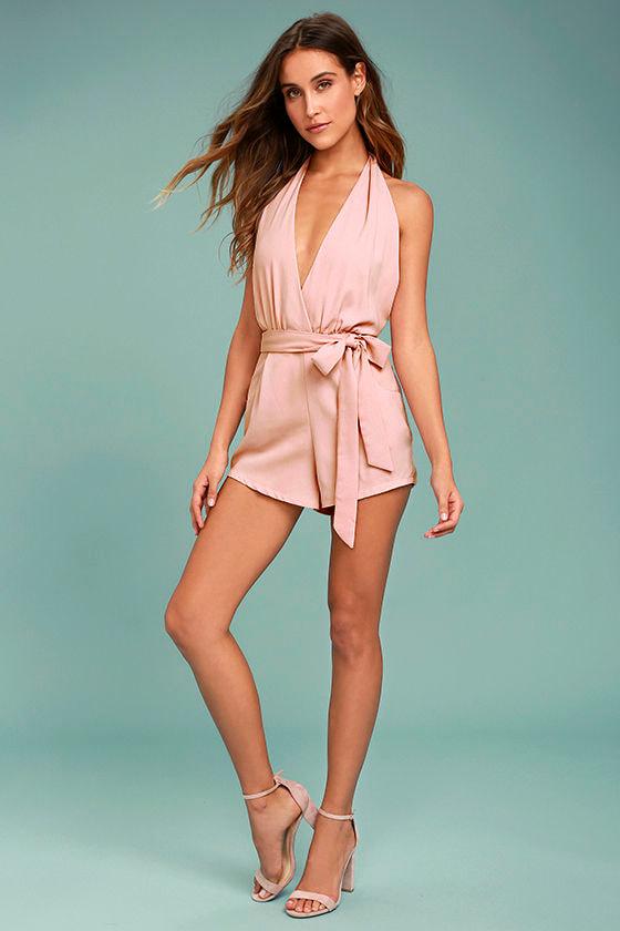 365b5511ad8f Sexy Blush Pink Romper - Halter Romper - Backless Romper - $49.00