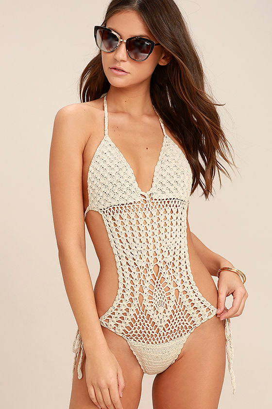 My Story Light Beige Crochet One Piece Swimsuit 1