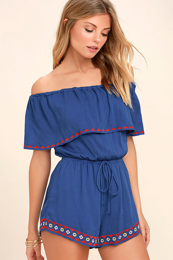 Oaxaca Royal Blue Embroidered Off-the-Shoulder Romper 1