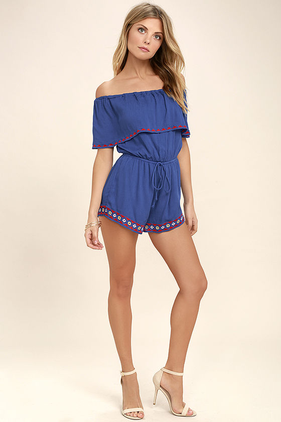 Oaxaca Royal Blue Embroidered Off-the-Shoulder Romper 2