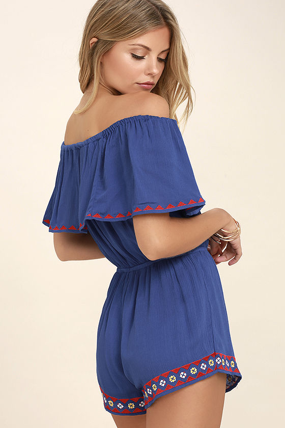 Oaxaca Royal Blue Embroidered Off-the-Shoulder Romper 3