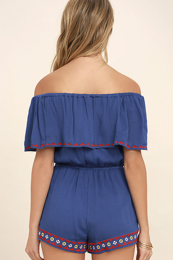 Oaxaca Royal Blue Embroidered Off-the-Shoulder Romper 4