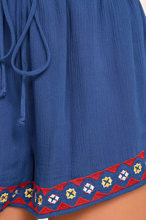 Oaxaca Royal Blue Embroidered Off-the-Shoulder Romper 6