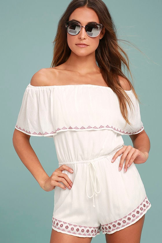 Oaxaca Ivory Embroidered Off-the-Shoulder Romper 1