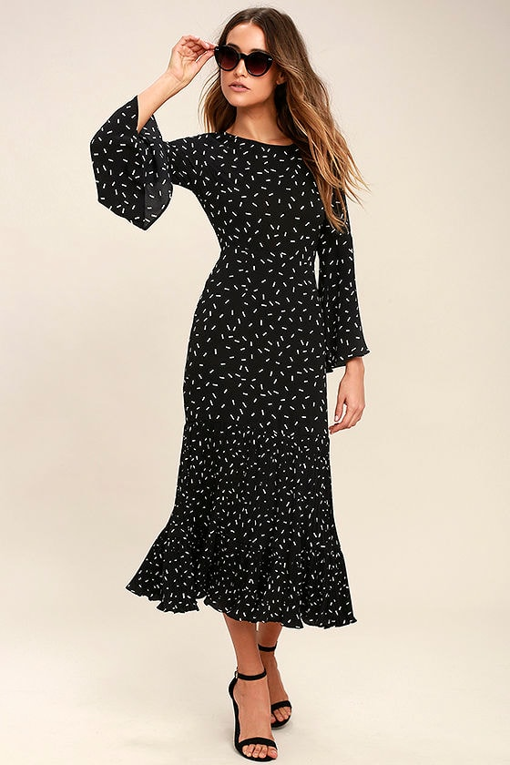 I. Madeline Dashing Diva Black Print Midi Dress 1