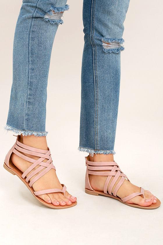 3b8e8250c36e Cute Nubuck Sandals - Flat Sandals - Thong Sandals -  20.00