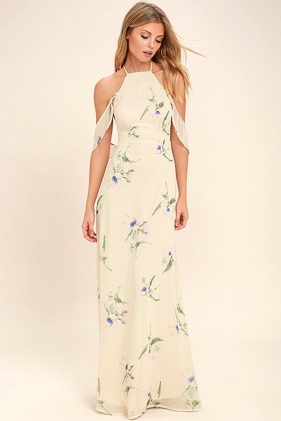 Tuned In Light Beige Floral Print Maxi Dress 3