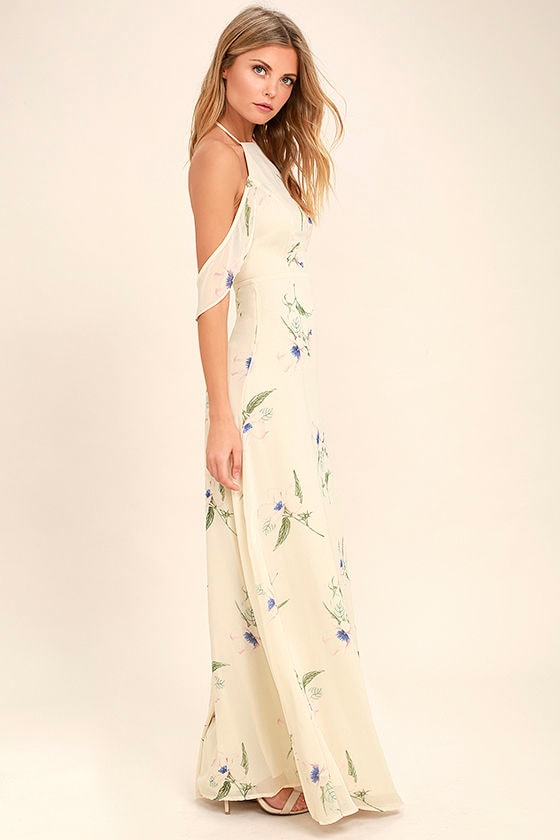 Tuned In Light Beige Floral Print Maxi Dress 2