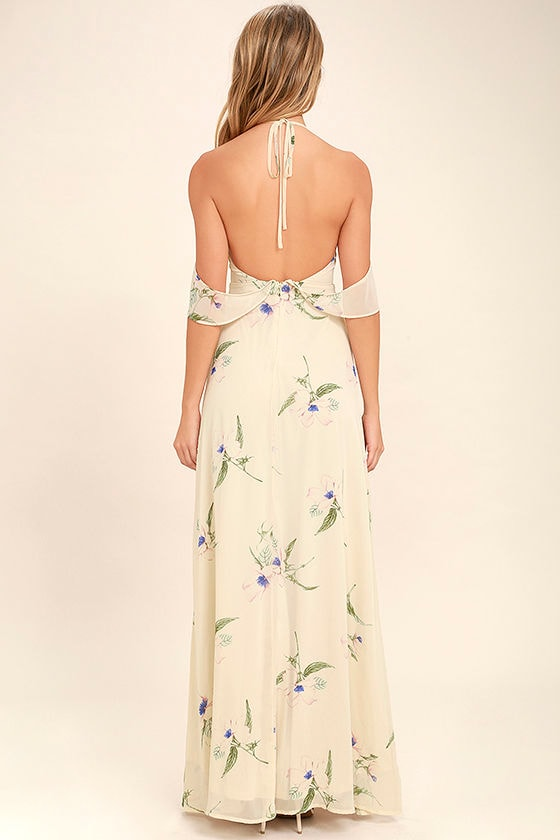 Tuned In Light Beige Floral Print Maxi Dress 4