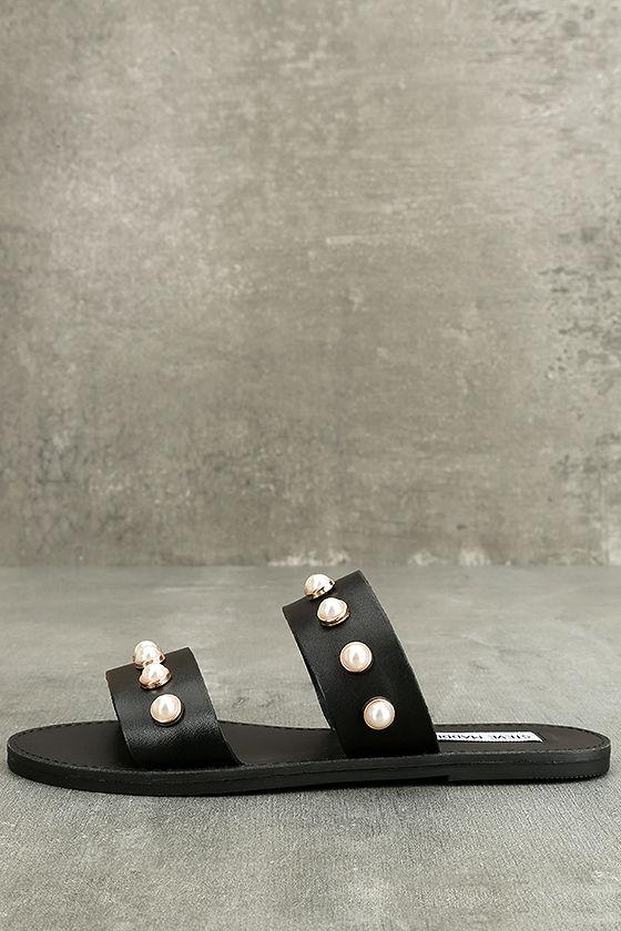 9aa8efc2b82 Steve Madden Jole - Black Sandals - Leather Sandals - Black Slide Sandals -   69.00