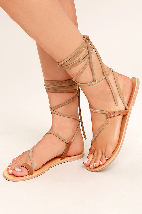 Amuse Society x Matisse Getaway Tan Leather Lace-Up Sandals 1