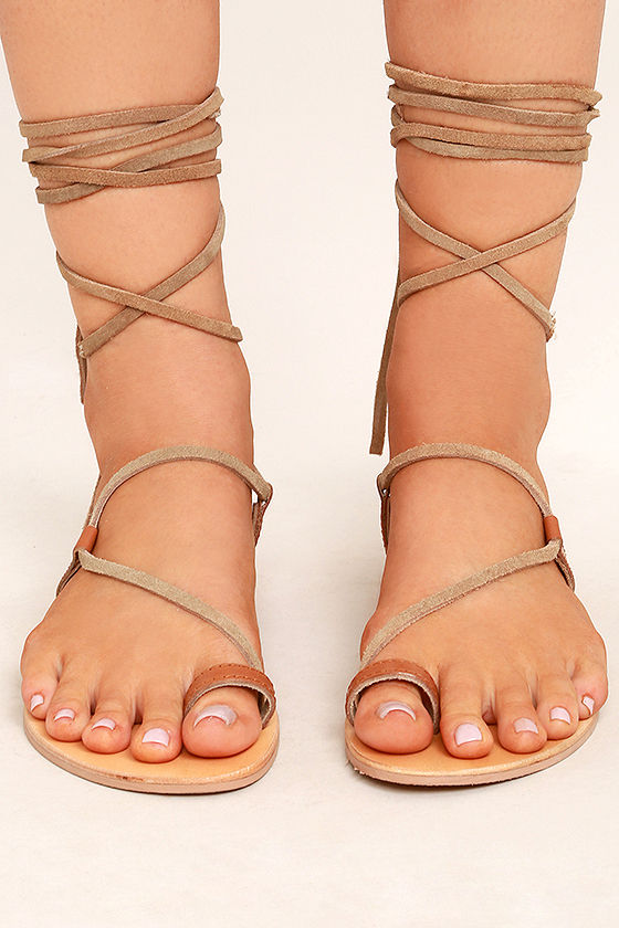 Amuse Society x Matisse Getaway Tan Leather Lace-Up Sandals 2
