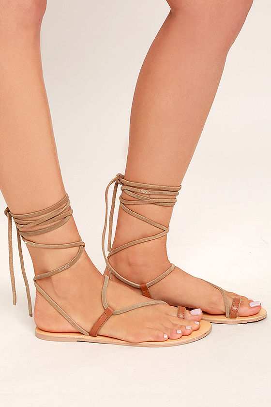 Amuse Society x Matisse Getaway Tan Leather Lace-Up Sandals 3