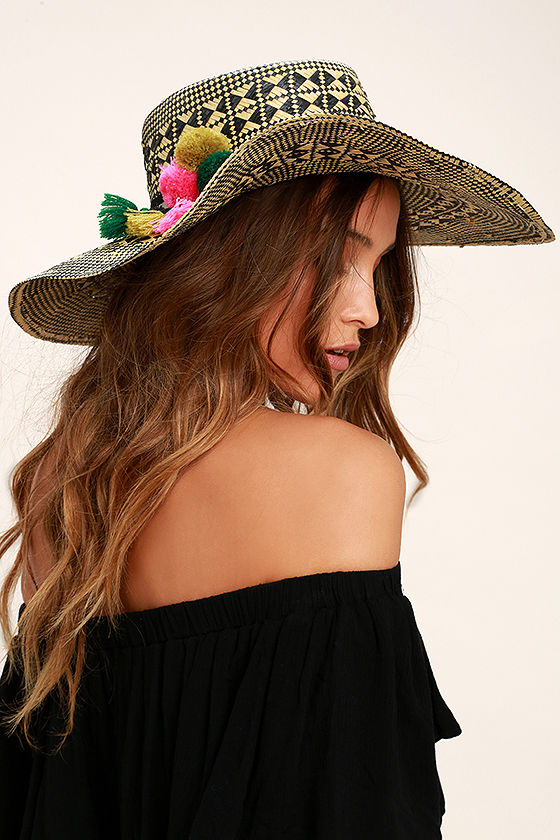 San Diego Hat Co. Fernanda Beige and Black Floppy Straw Hat 1