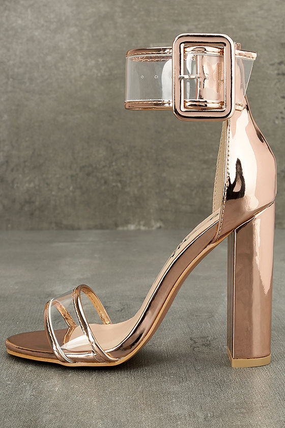 Adara Rose Gold Ankle Strap Lucite Heels 1
