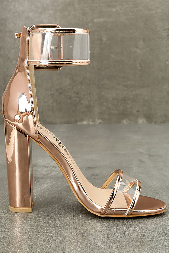 Adara Rose Gold Ankle Strap Lucite Heels 4