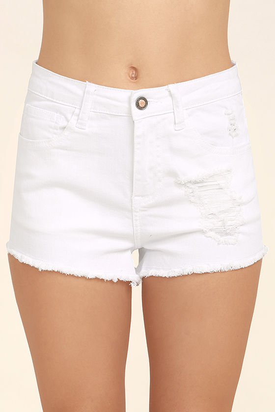 Echo Park White Distressed Denim Shorts 5