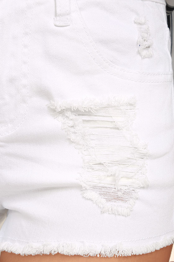 Echo Park White Distressed Denim Shorts 6