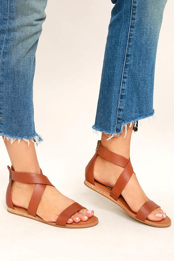 9496f64f08b3 Steve Madden Halley - Cognac Sandals - Genuine Leather Sandals -  69.00