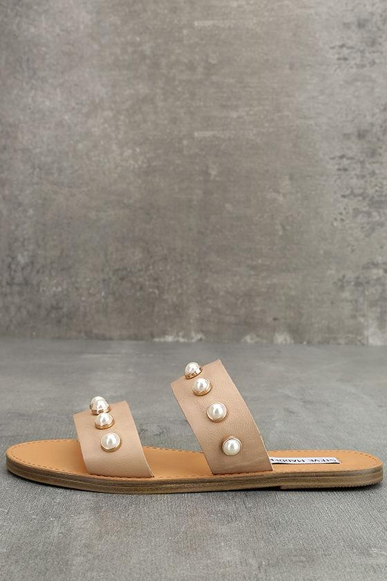 Steve Madden Jole Nude Leather Slide Sandals 1