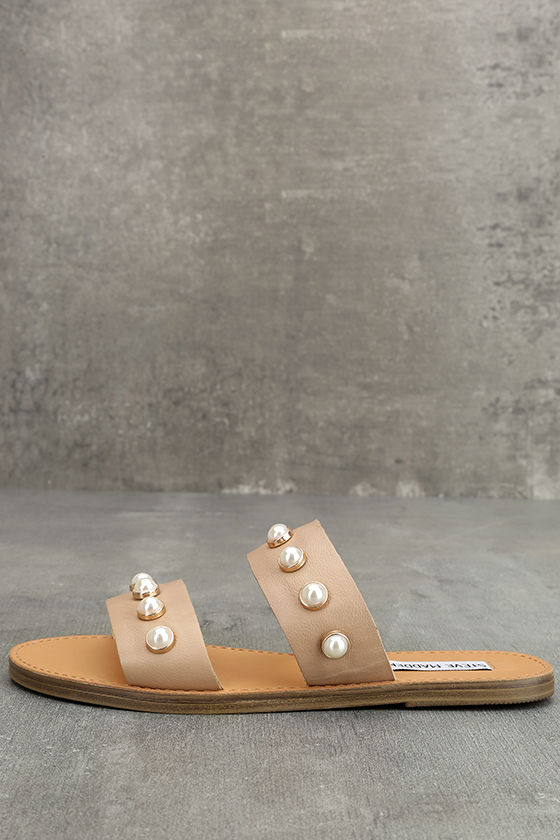 5b1d8fe9454 Steve Madden Jole - Nude Sandals - Leather Sandals - Nude Slide Sandals -   69.00